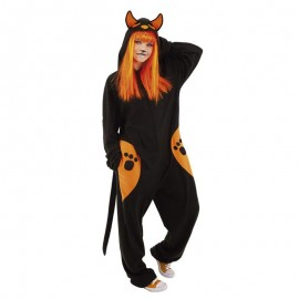 DISFRAZ DE KIGU BLACK CAT PIJAMA ADULTO