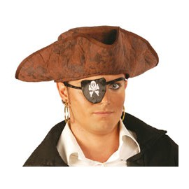 SOMBRERO PIRATA TELA MARRON